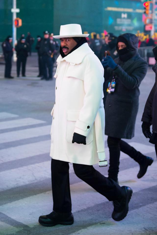 Steve Harvey in Times Square on New Year's Eve. (Getty Images)