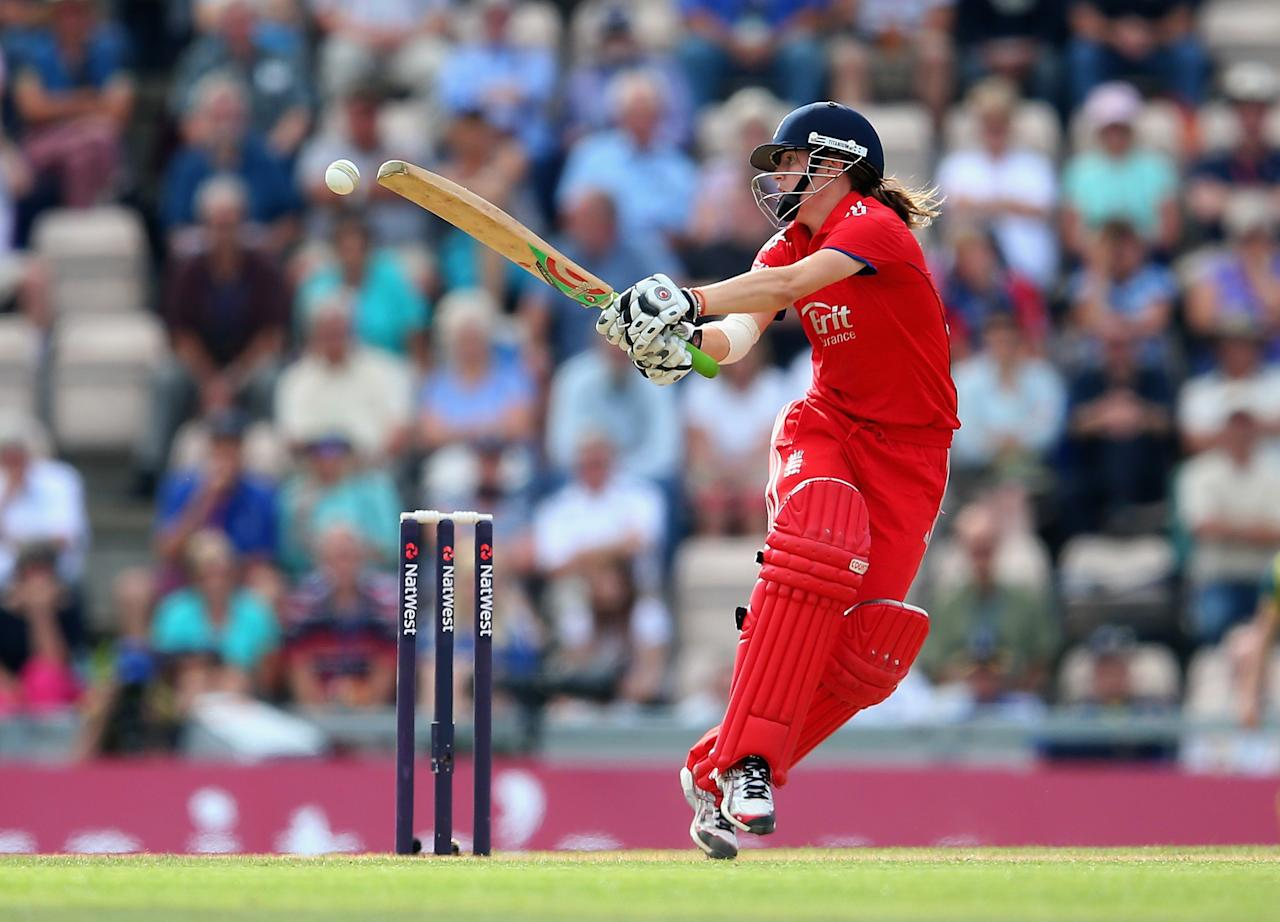 SOUTHAMPTON, ENGLAND - AUGUST 29:  Lydia Greenway of England bats during the 2nd NatWest T20 match between England Women and Australia Women at Ageas Bowl on August 29, 2013 in Southampton, England.  (Photo by Julian Finney/Getty Images)