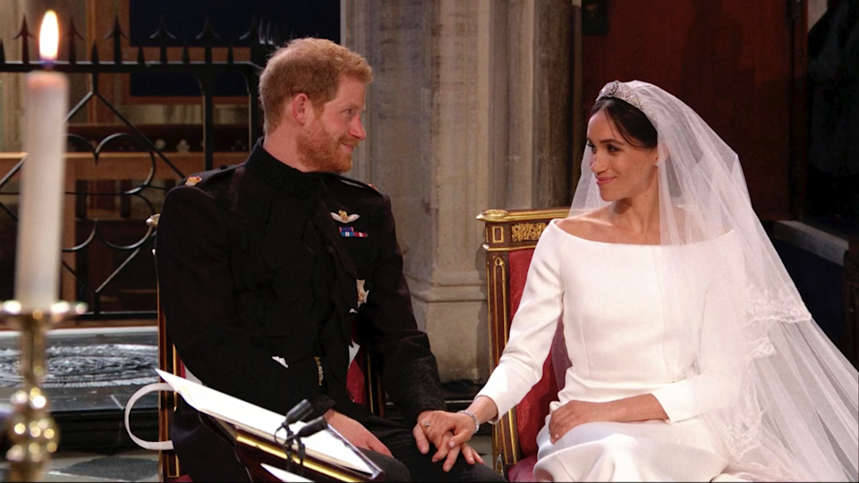 Meghan calmed a nervous Harry as the pair sat and listened to the service. [Photo: AP]