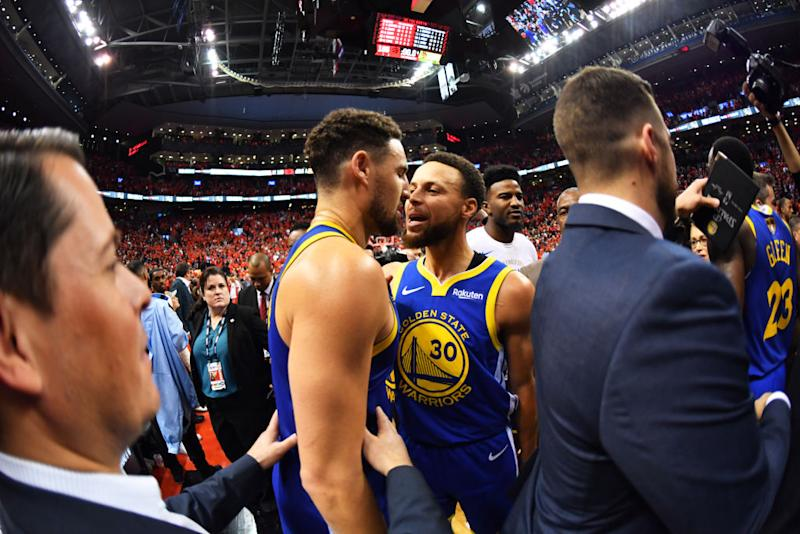 Stephen Curry and Klay Thompson combined for 57 points in the Golden State Warriors' Game 5 victory. (Getty Images)