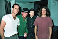 <p>Robert DeLeo and Scott Weiland of Stone Temple Pilots attend Rock for Choice in 1993.</p>