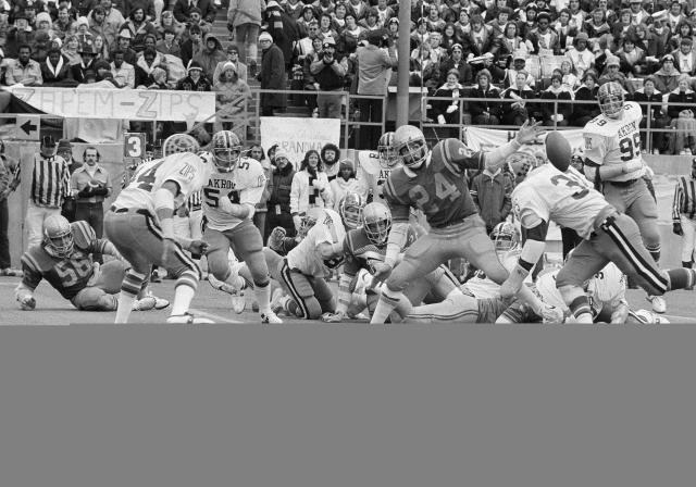 <p>1976 — Pass blocking liberalized for the first time to the advantage of the offense. They would be further liberalized four years later. (Photo credit: Getty) </p>