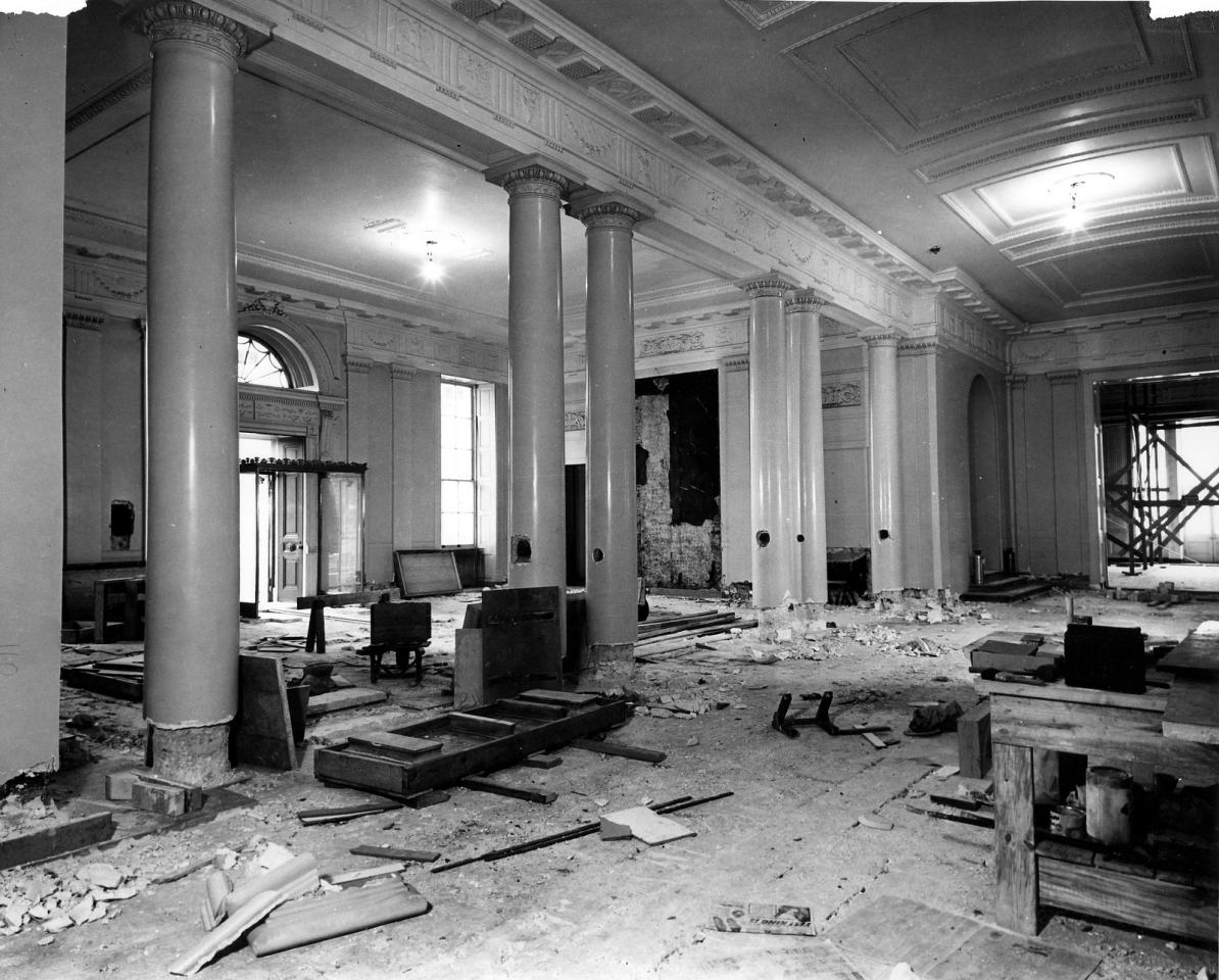 "Dec. 27, 1949: ""Northeast view of White House Lobby from the Main corridor during the renovation."" -- National Archives"