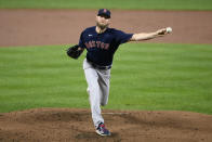 Boston Red Sox starting pitcher Chris Sale delivers a pitch during the first inning of a baseball game against the Baltimore Orioles, Tuesday, Sept. 28, 2021, in Baltimore. (AP Photo/Nick Wass)