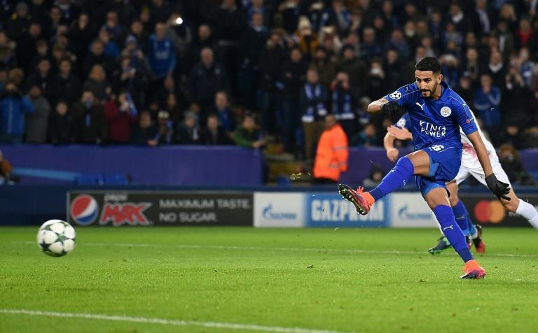 Leicester City's midfielder Riyad Mahrez shoots from the penalty spot to score his team's second goal during the UEFA Champions League group G football match between Leicester City and Club Brugge on November 22, 2016