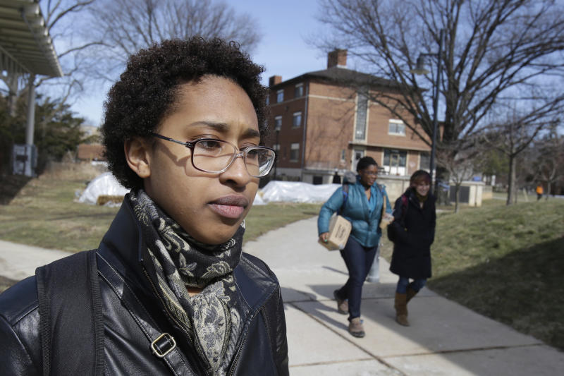 Modjeska Pleasant, 19, talks about the racial incidents that occurred recently at Oberlin College Tuesday, March 5, 2013 in Oberlin, Ohio. Pleasant is a first year student studying biology. Oberlin College in Ohio says it canceled classes after a report that a person wearing a hooded robe resembling Ku Klux Klan gear was seen near an African heritage building. The college near Cleveland canceled Monday's classes after the early morning sighting. It calls it the latest in a series of hate-related incidents on campus. Racist graffiti were reported on campus last month. (AP Photo/Tony Dejak)