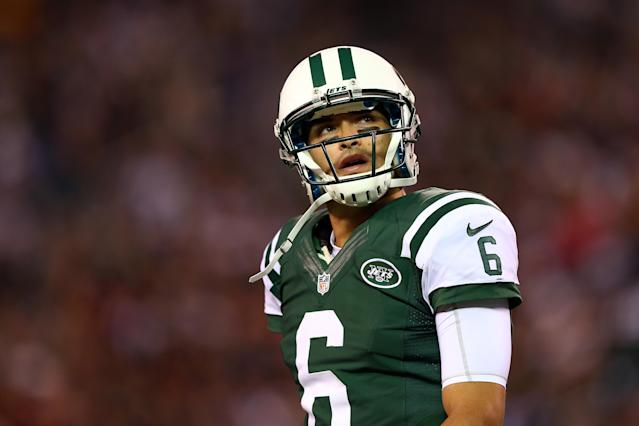 EAST RUTHERFORD, NJ - OCTOBER 08: Mark Sanchez #6 of the New York Jets looks on against the Houston Texans at MetLife Stadium on October 8, 2012 in East Rutherford, New Jersey. (Photo by Elsa/Getty Images)