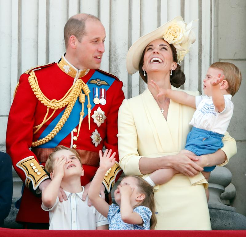 LONDON, UNITED KINGDOM - JUNE 08: (EMBARGOED FOR PUBLICATION IN UK NEWSPAPERS UNTIL 24 HOURS AFTER CREATE DATE AND TIME) Prince William, Duke of Cambridge, Catherine, Duchess of Cambridge, Prince Louis of Cambridge, Prince George of Cambridge and Princess Charlotte of Cambridge watch a flypast from the balcony of Buckingham Palace during Trooping The Colour, the Queen's annual birthday parade, on June 8, 2019 in London, England. The annual ceremony involving over 1400 guardsmen and cavalry, is believed to have first been performed during the reign of King Charles II. The parade marks the official birthday of the Sovereign, although the Queen's actual birthday is on April 21st. (Photo by Max Mumby/Indigo/Getty Images)