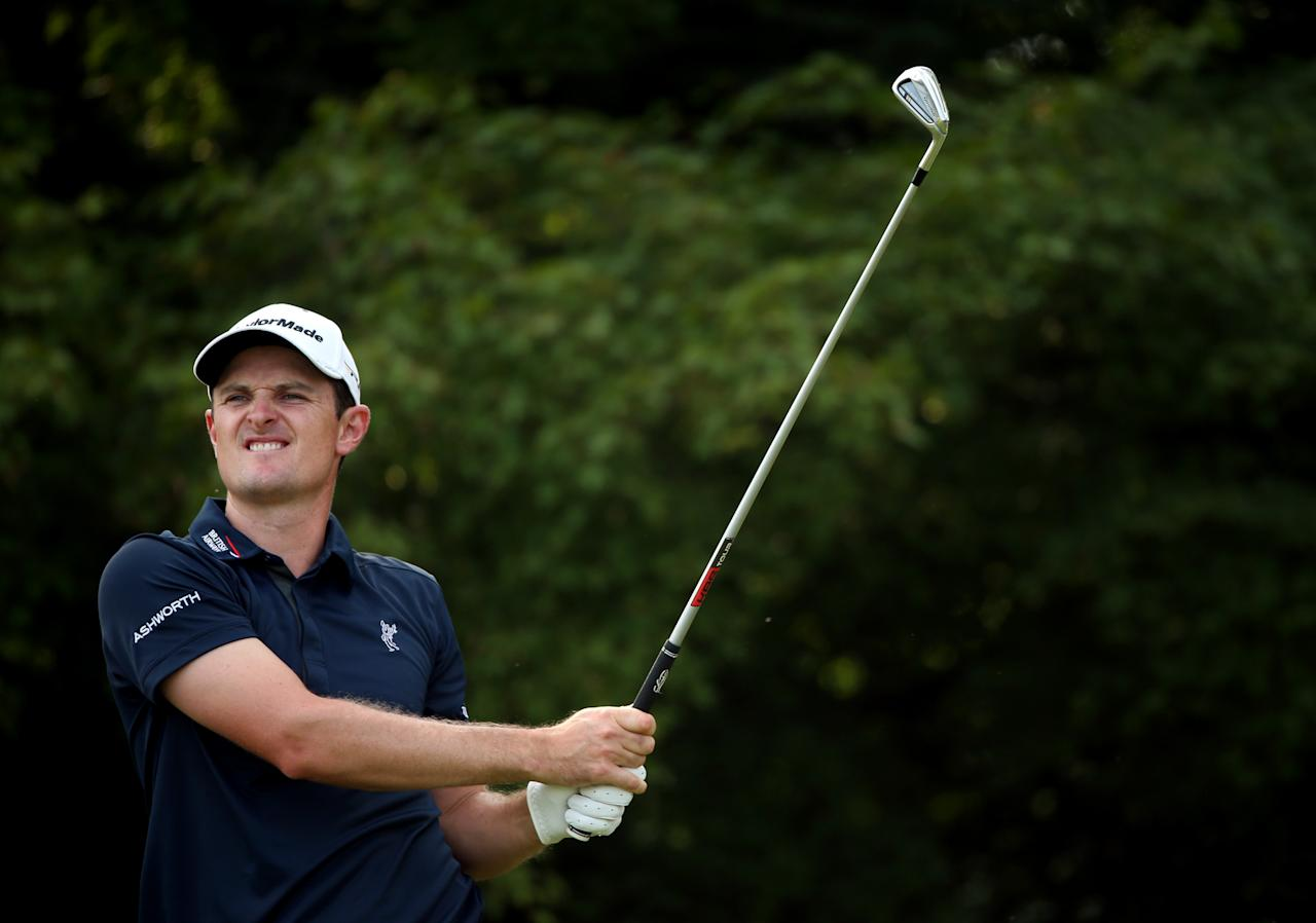 ARDMORE, PA - JUNE 15: Justin Rose of England hits his tee shot on the 11th hole during Round Three of the 113th U.S. Open at Merion Golf Club on June 15, 2013 in Ardmore, Pennsylvania. (Photo by Andrew Redington/Getty Images)