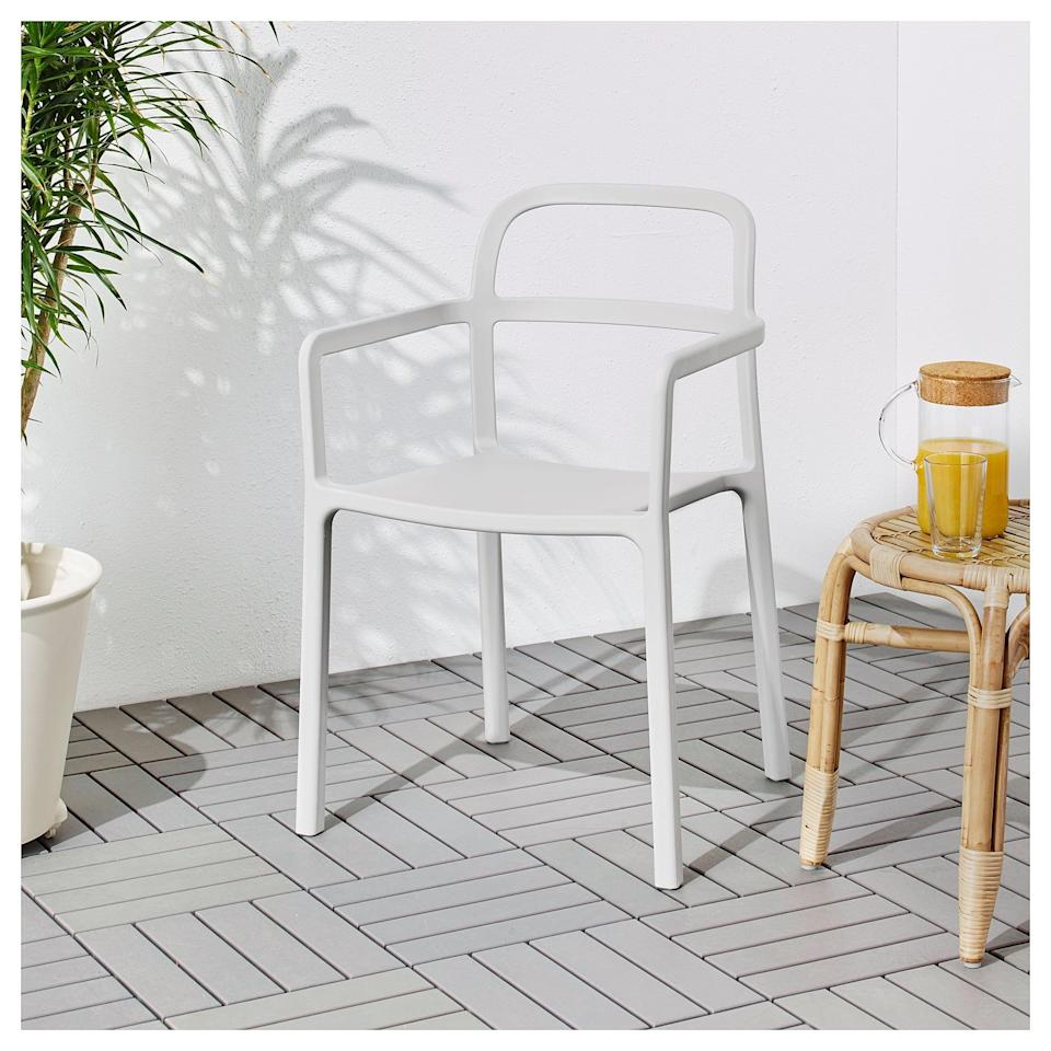 """<p>The <a href=""""https://www.popsugar.com/buy/Ypperlig-Armchair-454614?p_name=Ypperlig%20Armchair&retailer=ikea.com&pid=454614&price=59&evar1=casa%3Aus&evar9=46226851&evar98=https%3A%2F%2Fwww.popsugar.com%2Fhome%2Fphoto-gallery%2F46226851%2Fimage%2F46226966%2FYpperlig-Armchair&list1=shopping%2Cfurniture%2Cikea%2Csummer%2Csmall%20space%20living%2Coutdoor%20decorating%2Chome%20shopping&prop13=api&pdata=1"""" class=""""link rapid-noclick-resp"""" rel=""""nofollow noopener"""" target=""""_blank"""" data-ylk=""""slk:Ypperlig Armchair"""">Ypperlig Armchair</a> ($59) is extremely lightweight, making it easy to move wherever it's needed.</p>"""