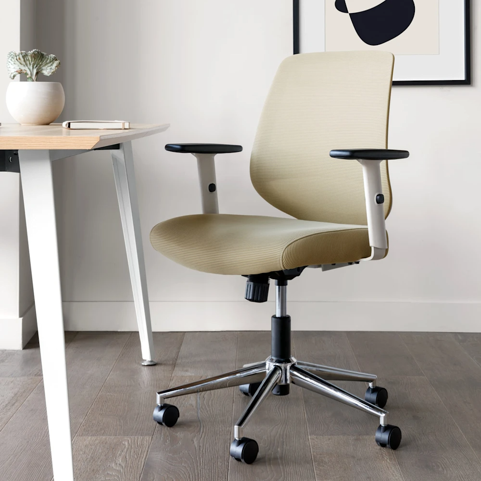 """<h3>Branch Daily Chair</h3><br><strong>Best For: Breathable Support</strong><br>This ergonomically designed chair is made with over 70% recycled materials, a contoured nylon back and lumbar rest for breathable support. <br><br><strong>The Hype: </strong>5 out of 5 stars and 109 reviews on <a href=""""https://www.branchfurniture.com/collections/office-chairs/products/daily-chair"""" rel=""""nofollow noopener"""" target=""""_blank"""" data-ylk=""""slk:BranchFurniture.com"""" class=""""link rapid-noclick-resp"""">BranchFurniture.com</a><br><br><strong>Comfy Butts Say:</strong> """"I seriously love this chair. It's actually changed my mood doing long WFH hours. The mesh material feels really breathable yet supportive, unlike chairs that are basically transparent mesh. The color and design fit into my room way more seamlessly as well. So thankful that this is beautiful and comfortable, as our eyes take up mental space/energy as well!""""<br><br><strong>Branch</strong> Daily Chair, $, available at <a href=""""https://go.skimresources.com/?id=30283X879131&url=https%3A%2F%2Fwww.branchfurniture.com%2Fcollections%2Foffice-chairs%2Fproducts%2Fdaily-chair"""" rel=""""nofollow noopener"""" target=""""_blank"""" data-ylk=""""slk:Branch"""" class=""""link rapid-noclick-resp"""">Branch</a>"""