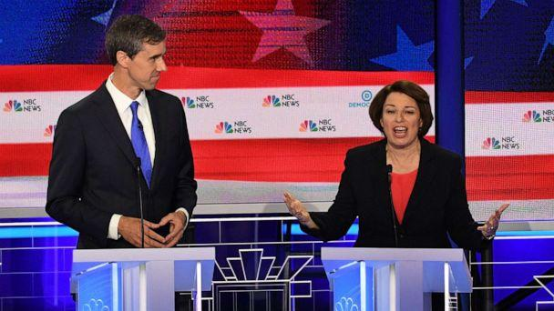 PHOTO: Beto O'Rourke and Amy Klobuchar participate in the first Democratic primary debate hosted by NBC News at the Adrienne Arsht Center for the Performing Arts in Miami, Florida, June 26, 2019. (Jim Watson/AFP/Getty Images)