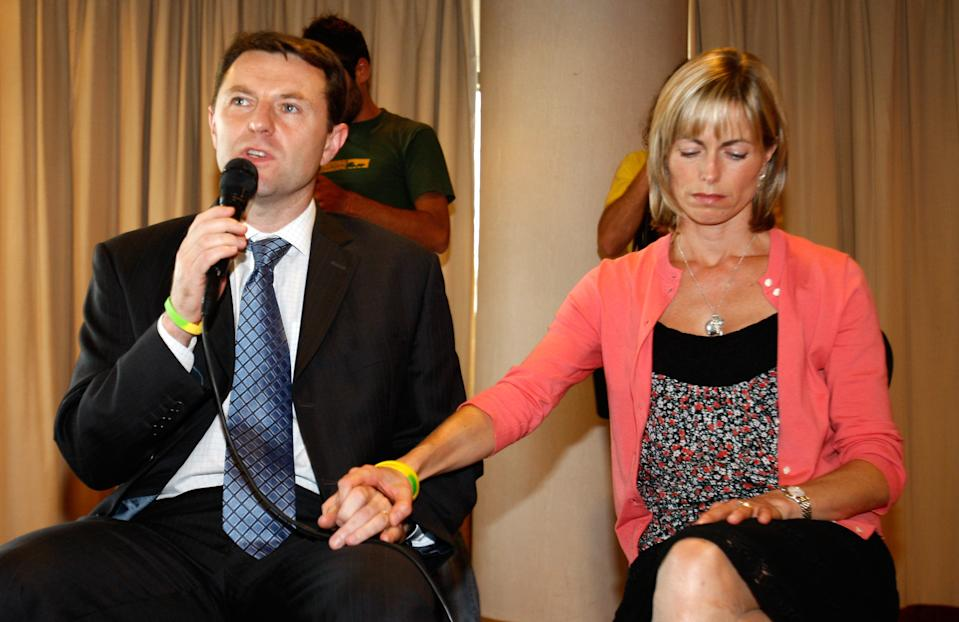 Kate and Gerry McCann, the parents of missing girl Madeleine McCann during a news conference Wednesday, Sept. 23 2009, at a hotel in Lisbon. The British couple returned to Portugal to hold talks with their lawyers. Madeleine was three years old when she disappeared from her holiday apartment in Praia da Luz, southern Portugal,  while her parents were having dinner nearby on May 3 2007. (AP Photo/Joao Henriques)