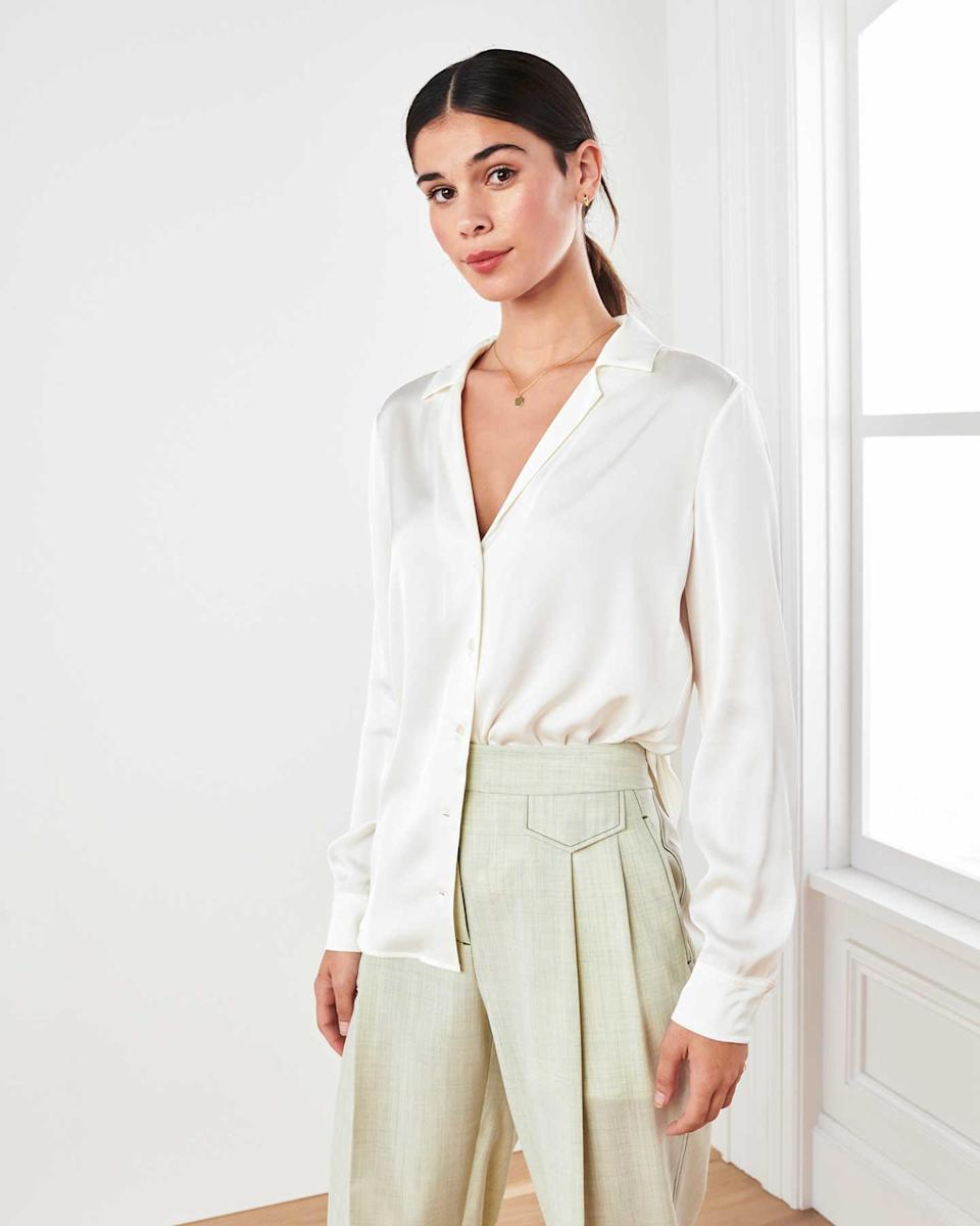 """<h2>Quince Washable Stretch Silk Notch Collar Blouse</h2><br><strong>The Best Washable Silk White Button-Down</strong><br>If you want a more elevated Oxford, a silky white button-down goes a long way. Put one on and you'll automatically look more luxe, more professional, and more evening-ready.<br><br><strong>The Hype:</strong> 4.7 out of 5 stars and 119 reviews on Quince<br><br><strong>What They're Saying: </strong>""""I've spent years looking for a silk button-up. Cotton ones tend to be too stiff on my frame (petite with curves) but silk tops have always been towards the $100 range, which is unrealistic for me. My search for this top is how I found Quince in the first place. Really happy to fill out my wardrobe for work/events/daily life with this staple piece!""""<br><br><strong>Quince</strong> Washable Stretch Silk Notch Collar Blouse, $, available at <a href=""""https://go.skimresources.com/?id=30283X879131&url=https%3A%2F%2Fwww.onequince.com%2Fwomen%2Fsilk%2Fsilk-notch-collar-blouse%3Fcolor%3Divory"""" rel=""""nofollow noopener"""" target=""""_blank"""" data-ylk=""""slk:Quince"""" class=""""link rapid-noclick-resp"""">Quince</a>"""