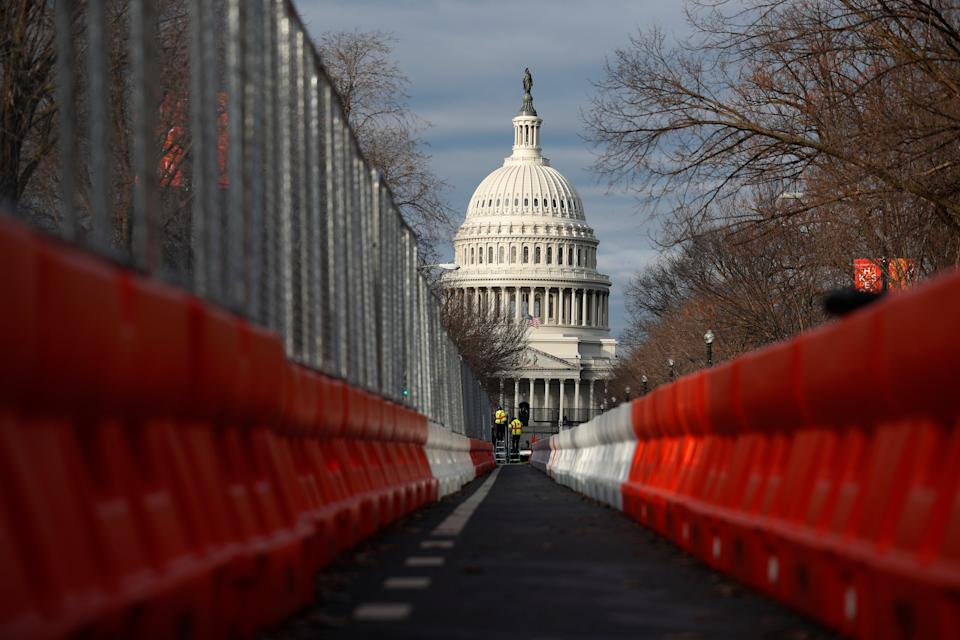 Steel fencing and barb wire surround the Capitol building as security is heightened ahead of Inauguration DayAP
