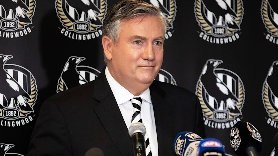 Eddie McGuire (pictured) fronts the media to announce he will step down as president of Collingwood.