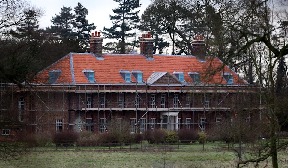 General view of Anmer Hall as work continues on the royal country retreat gifted to the Duke and Duchess of Cambridge on Queen Elizabeth II's Sandringham estate in Norfolk.   (Photo by Chris Radburn/PA Images via Getty Images)