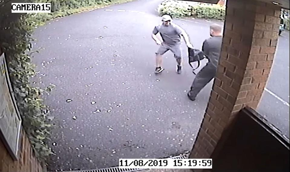 Handout screengrab from CCTV dated 11/8/2019 issued by Cheshire Constabulary just before Lee Abbott (left) stabbed to death pub landlord Christian Thornton. Abbott has been found guilty at Liverpool Crown Court of his murder.