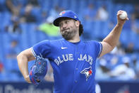 Toronto Blue Jays starting pitcher Robbie Ray pitches in the first inning of a baseball game against the Tampa Bay Rays in Toronto on Wednesday, Sept. 15, 2021. (Jon Blacker/The Canadian Press via AP)
