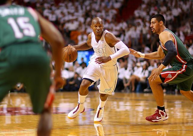MIAMI, FL - APRIL 21: Ray Allen #34 of the Miami Heat dribbles during Game 1 of the Eastern Conference Quarterfinals of the 2013 NBA Playoffs at against the Milwaukee Bucks American Airlines Arena on April 21, 2013 in Miami, Florida. NOTE TO USER: User expressly acknowledges and agrees that, by downloading and or using this photograph, User is consenting to the terms and conditions of the Getty Images License Agreement. (Photo by Mike Ehrmann/Getty Images)