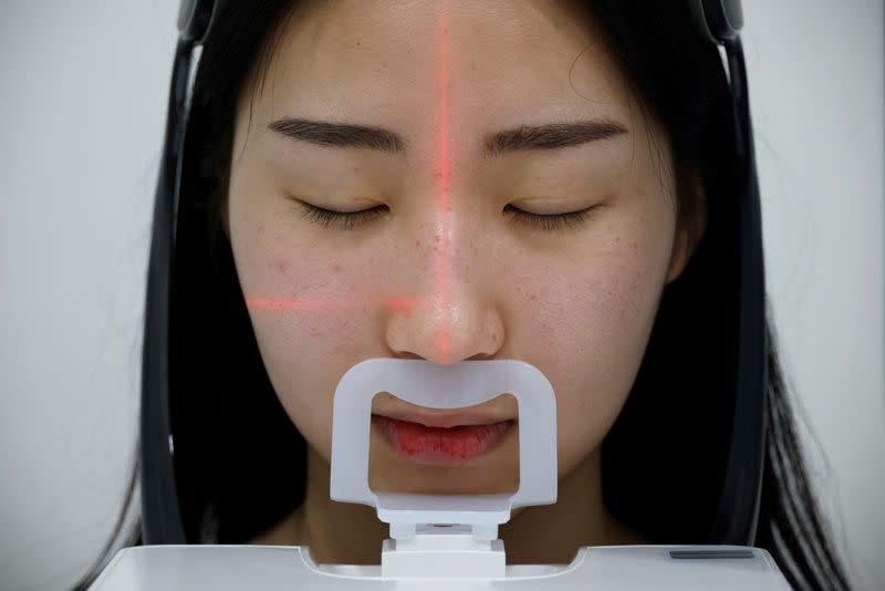 Ryu Han-na, who undergoes nose plastic surgery, gets CT scan at WooAhIn Plastic Surgery Clinic, amid the coronavirus disease (COVID-19) pandemic in Seoul