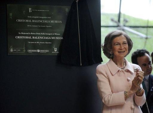 Spain's Queen Sofia unveils a placard to inaugurate the Cristobal Balenciaga Museum