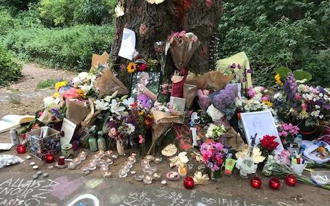 Tributes to Iris were laid at Barnes Common in London - Credit: PA