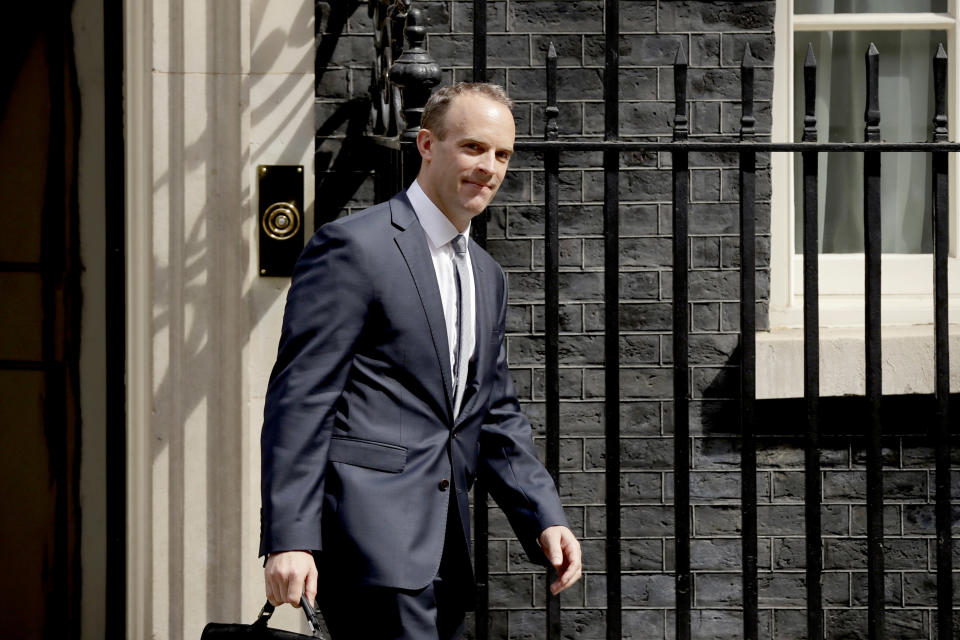 Britain's new Secretary of State for Exiting the European Union Dominic Raab leaves No.10 on Monday morning. (AP)