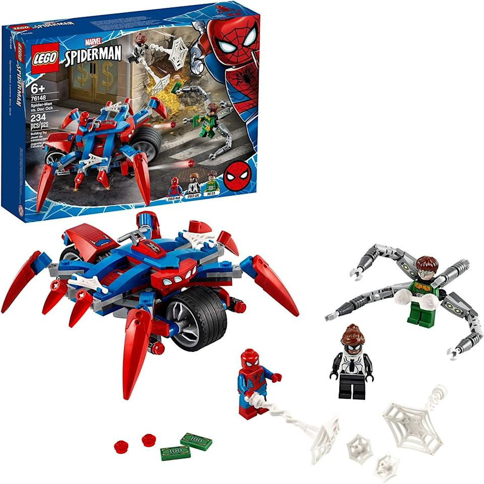 "<p><a href=""https://www.popsugar.com/buy/Lego-Spider-Man-vs-Doc-Ock-551166?p_name=Lego%20Spider-Man%20vs.%20Doc%20Ock&retailer=amazon.com&pid=551166&price=20&evar1=moms%3Aus&evar9=47244751&evar98=https%3A%2F%2Fwww.popsugar.com%2Ffamily%2Fphoto-gallery%2F47244751%2Fimage%2F47244773%2FLego-Spider-Man-vs-Doc-Ock&list1=toys%2Clego%2Ctoy%20fair%2Ckid%20shopping%2Ckids%20toys&prop13=api&pdata=1"" class=""link rapid-noclick-resp"" rel=""nofollow noopener"" target=""_blank"" data-ylk=""slk:Lego Spider-Man vs. Doc Ock"">Lego Spider-Man vs. Doc Ock</a> ($20) has 234 pieces and is best suited for kids ages 6 and up.</p>"