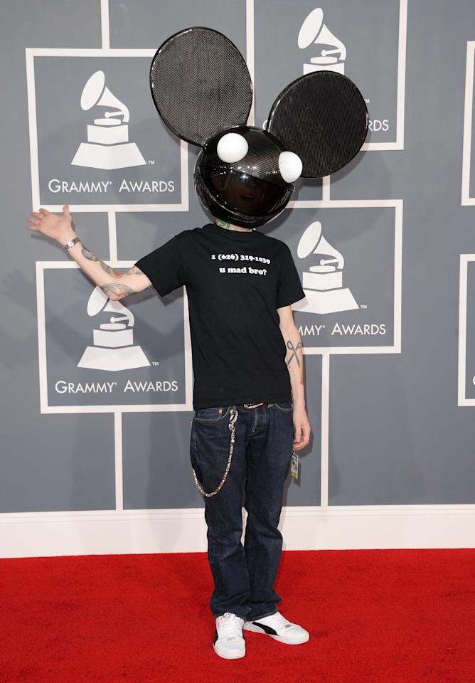 LOS ANGELES, CA - FEBRUARY 12:  DJ Deadmau5 arrives at the 54th Annual GRAMMY Awards held at Staples Center on February 12, 2012 in Los Angeles, California.  (Photo by Jason Merritt/Getty Images)