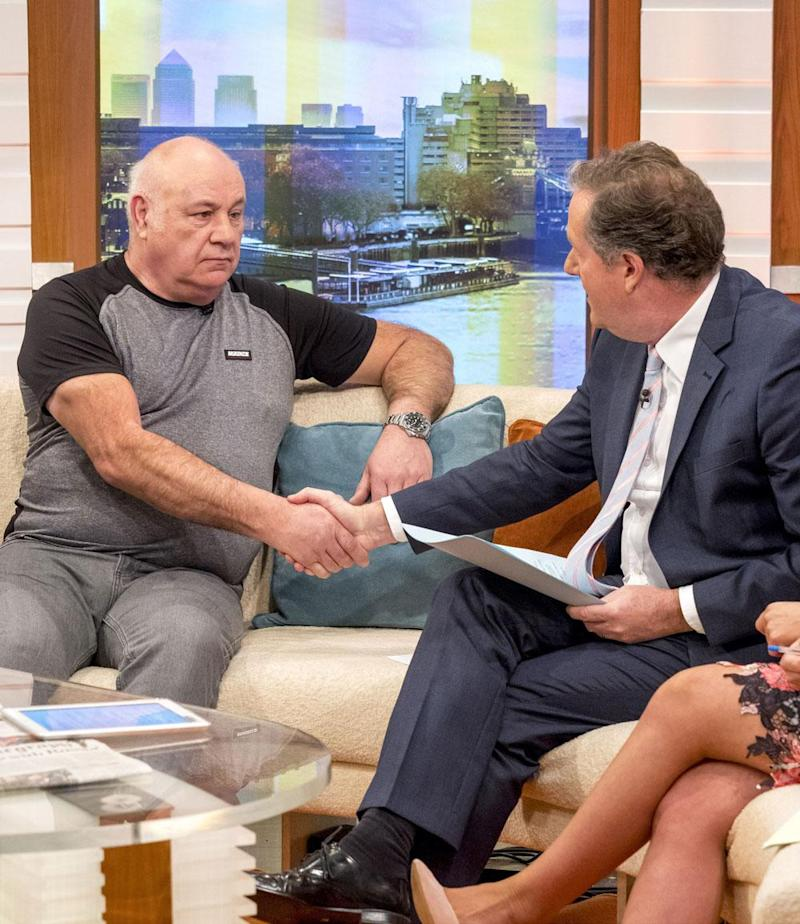 Guest: Piers Morgan and Bob Curry shake hands on Good Morning Britain (Ken McKay/ITV/REX)