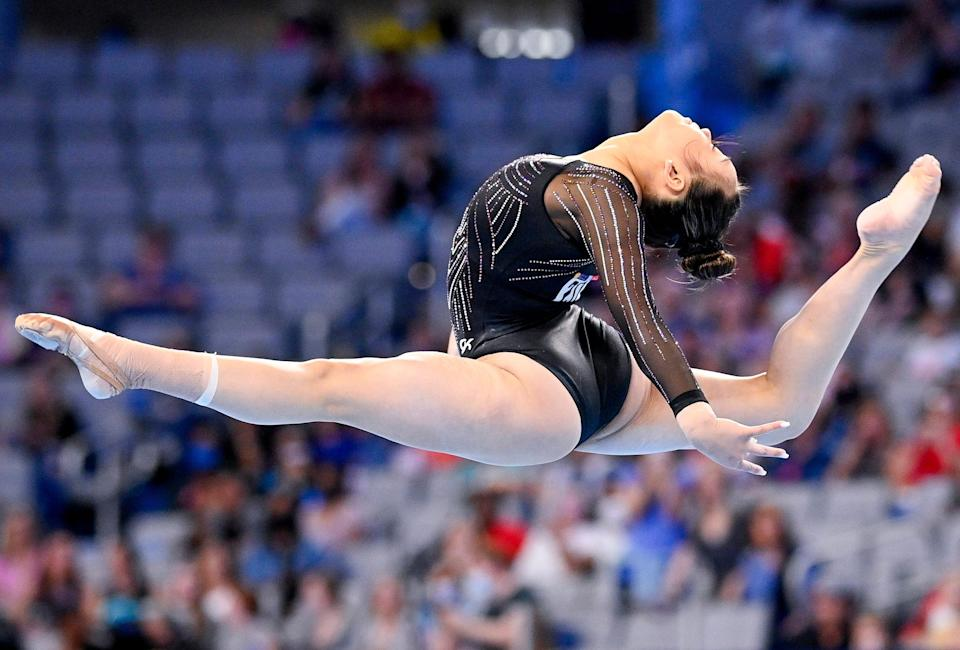 Sunisa Lee on June 6, 2021, during the US Championships at Dickies Arena in Fort Worth, Texas.