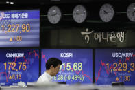 A currency trader walks near the screens showing the Korea Composite Stock Price Index (KOSPI), center, and the foreign exchange rates at the foreign exchange dealing room in Seoul, South Korea, Friday, May 15, 2020. Asian shares were mixed Friday as markets meandered on news about economies reopening, mixed with worries about the prolonged health risks from the new coronavirus. (AP Photo/Lee Jin-man)