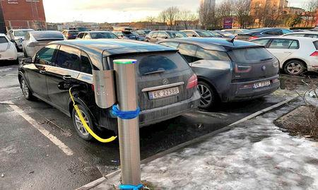 Electric cars are parked in Oslo