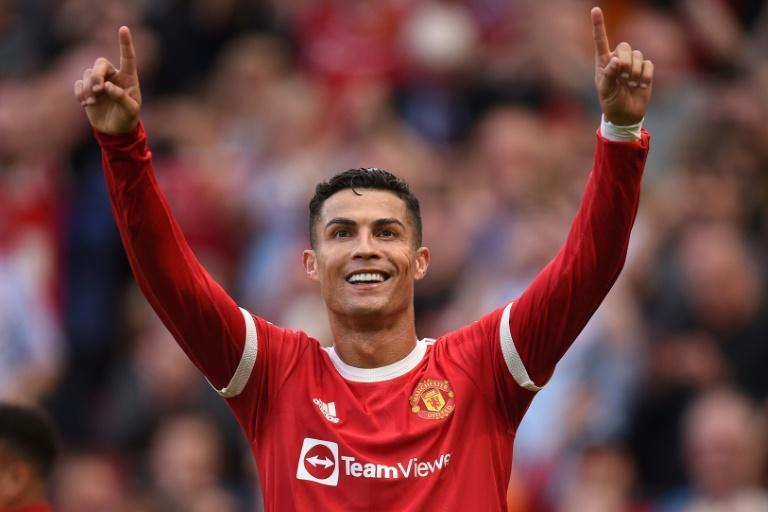 Cristiano Ronaldo scored twice in his first game back at Manchester United (AFP/Oli SCARFF)