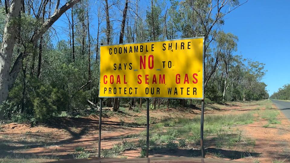 An anti coal seam gas sign in Coonamble shire.