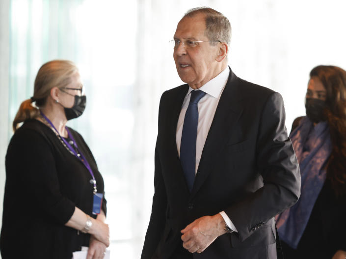 Russian Foreign Minister Sergey Lavrov arrives for the Arctic Council Ministerial Meeting in Reykjavik, Iceland, Thursday, May 20, 2021. Top diplomats from the United States and Russia sparred politely in Iceland during their first face-to-face encounter, which came as ties between the nations have deteriorated sharply in recent months. (AP Photo/Brynjar Gunnarsson, Pool)