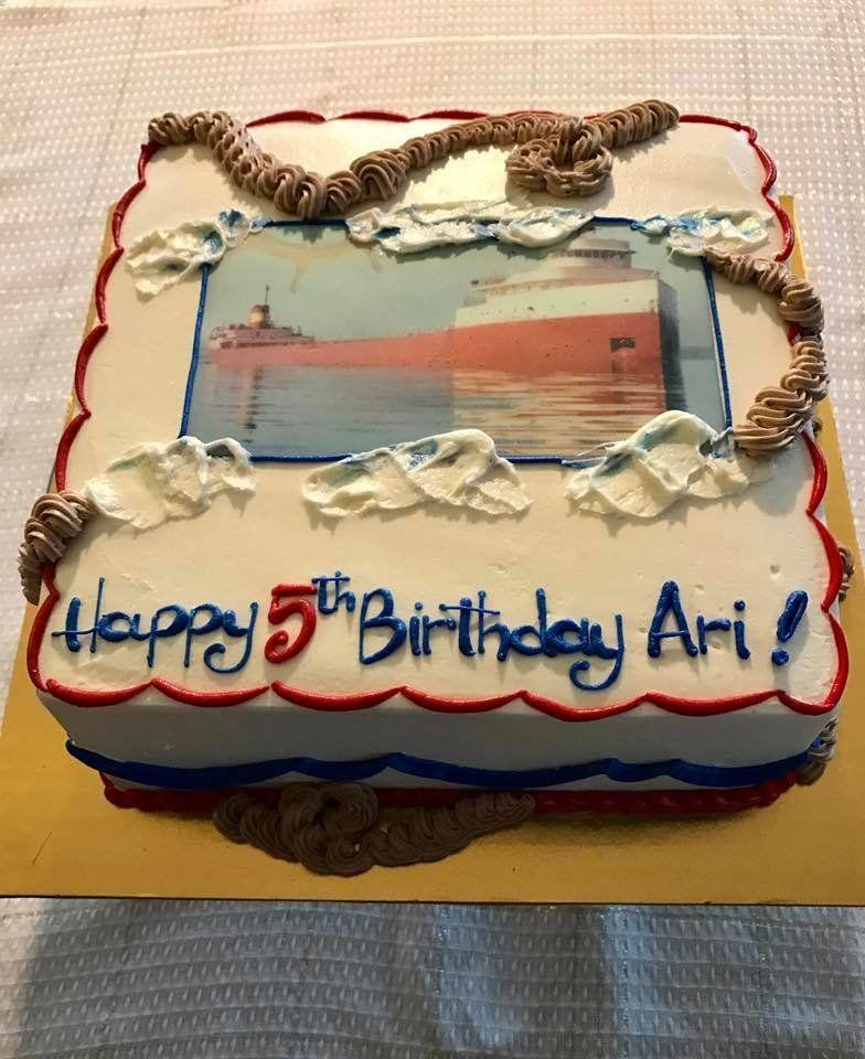 """Our son wanted an Edmund Fitzgerald -- a freighter that sunk in Lake Superior in the '70s -- party for his 5th birthday. Actually he wanted a cake with both The Titanic and The Fitzgerald sinking. He loves them both. I told him we would go with the Fitz in happier times"" -- Erica Salomon"