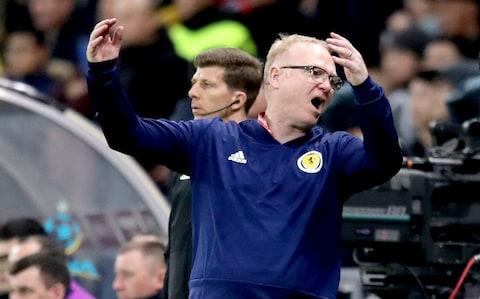 Alex McLeish gestures on the touchline - Alex McLeish has much to prove to win back Scotland fans's support - Credit: PA