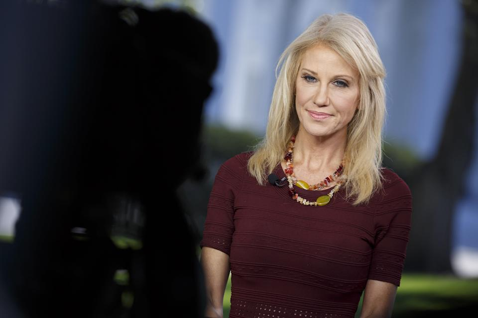 Kellyanne Conway gives an interview outside of the White House on Oct. 3, 2018. (Photo: Joshua Roberts/Bloomberg)