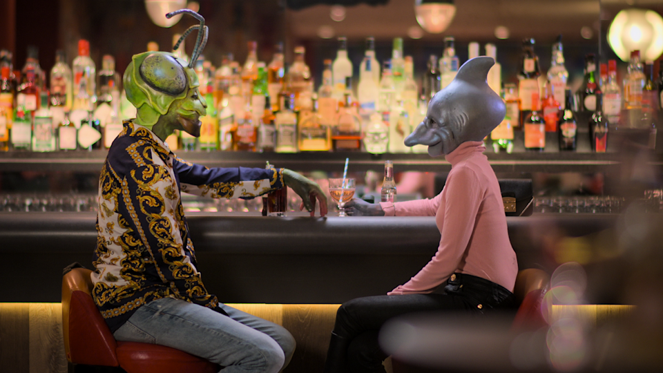 """Two people, dressed as animals, go on a date for Netflix's """"Sexy Beasts,"""" a dating show that aims to put the focus on participants' personalities."""