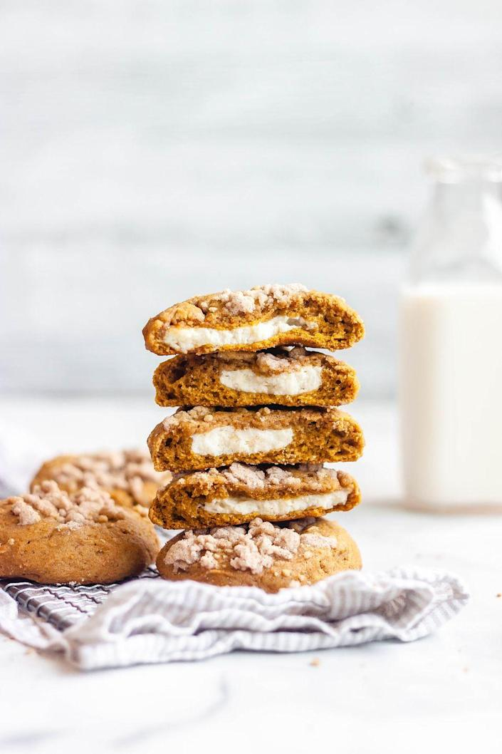 """<p>Fans of coffee cake will love the streusel topping on these pumpkin cheesecake cookies. It's an extra step, but it's so worth it!</p><p><strong>Get the recipe at <a href=""""https://butternutbakeryblog.com/pumpkin-cheesecake-cookies/"""" rel=""""nofollow noopener"""" target=""""_blank"""" data-ylk=""""slk:Butternut Bakery"""" class=""""link rapid-noclick-resp"""">Butternut Bakery</a>.</strong></p>"""