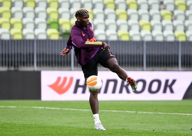 Paul Pogba during a training session