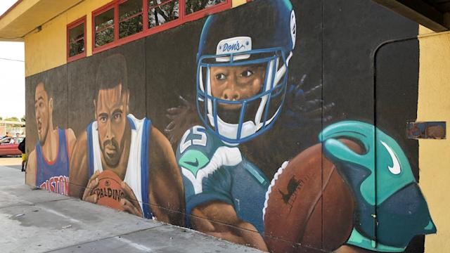 Tayshaun Prince, Tyson Chandler and Richard Sherman mural at Manuel Dominguez High School in Compton, Calif.