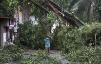 A man walks past a fallen tree after heavy rainfall in Mumbai India, Tuesday, May 18, 2021. The Maharashtra state capital was largely spared from any major damage as Cyclone Tauktae, the most powerful storm to hit the region in more than two decades, came ashore in neighboring Gujarat state late Monday. (AP Photo/Rafiq Maqbool)