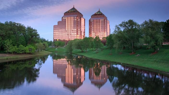 Carlson Towers at sunset - Image.