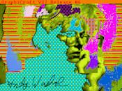 """This undated image provided by The Andy Warhol Museum in Pittsburgh, Pa., shows """"Andy2"""", a piece that is thought to be made by the late pop artist, Andy Warhol, on a computer in 1985. The museum says that the artist had a contract with Commodore International to produce images on one of its Amiga home computers. The old images recently were extracted from disks by members of Pittsburgh's Carnegie Mellon University Computer Club in collaboration with museum staff. (AP Photo/Andy Warhol, 1985, ©The Andy Warhol Foundation for the Visuals Arts, Inc.)"""