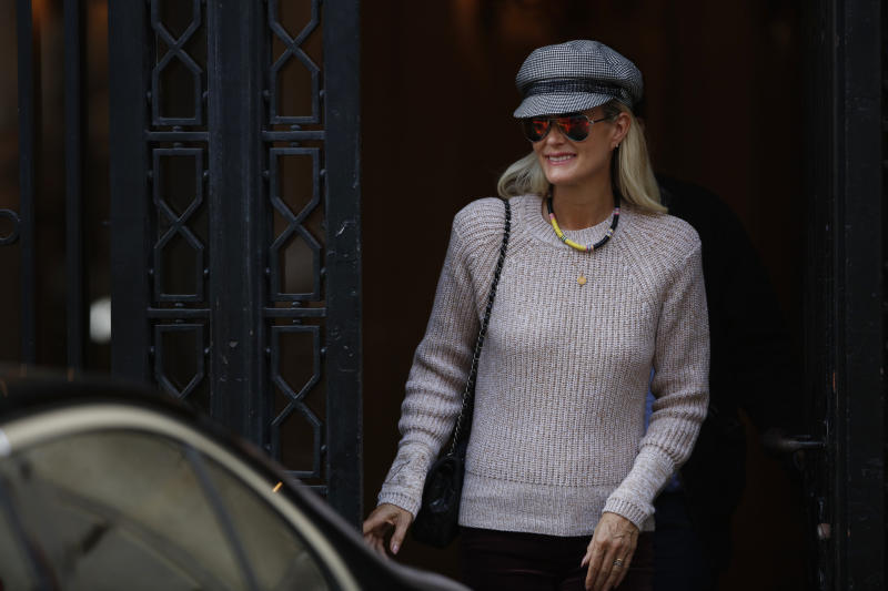 Laeticia Hallyday is coming out of an appointment with their lawyer Ardavan Amir-Aslani in Paris, France on October 17, 2018. (Photo by Mehdi Taamallah / NurPhoto via Getty Images)