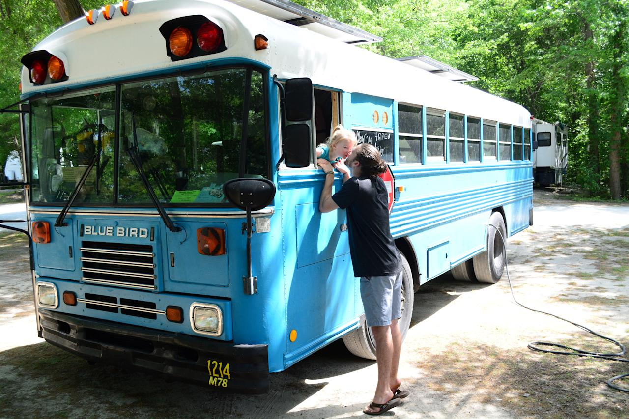 <p>The couple were inspired when they sold their house in Atlanta, Georgia, in 2015 and moved to a local campsite with Payson, where they lived in a $65,000 RV for a year. After seeing other full-time travelling families passing through they decided to trade their problematic RV for a 2003 school bus, which they bought on eBay for $3,000. [Picture: SWNS] </p>