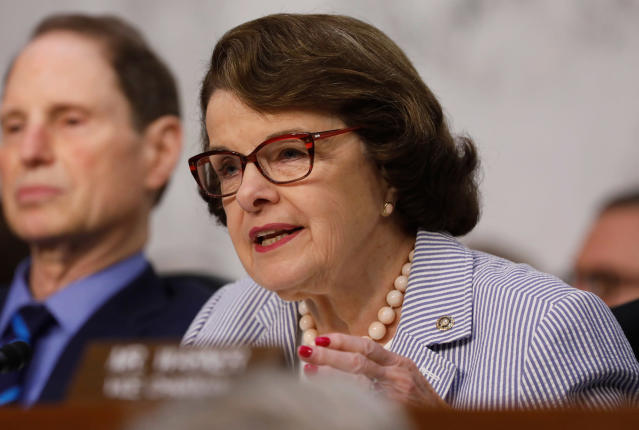 <p>U.S. Senator Dianne Feinstein (D-CA) asks questions during former FBI Director James Comey's appearance before a Senate Intelligence Committee hearing on Russia's alleged interference in the 2016 U.S. presidential election on Capitol Hill in Washington, June 8, 2017. (Photo: Aaron P. Bernstein/Reuters) </p>